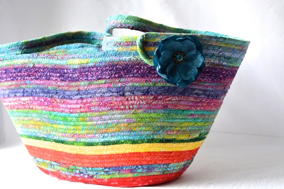 Beach Batik Basket, Handmade Fiber Art Purse, Lovely Chakra Tote Bag, Laptop Case, Unique Gift Basket, Coiled Moses Basket
