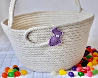Girl Easter Bucket, Handmade Purple Easter Basket, Beige Easter Egg Hunt Bag, Rope Tote, Spring Decor, Baby Toy Basket, Free Name Tag