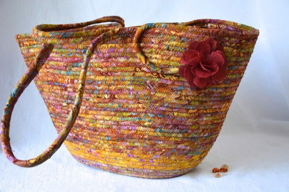 Fall Tote Bag, Handmade Batik Basket, Modern Picnic Basket, Laptop Purse Case, Unique  Coiled Rope Basket, Clothesline Art OOAK