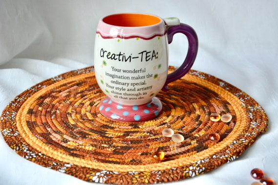 "Thanksgiving Place Mat, 1 Handmade Fall Trivet, 12"" Table Mat, Beautiful Potholder, Golden Table Topper, Autumn Hot Pad, Orange Place Mat"