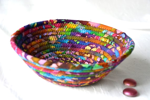 Rustic Batik Basket, Handmade Purple Artisan Bowl, Candy Dish, Quilted Cotton Basket, Boho Chic Fabric Bowl, Key Change Bowl