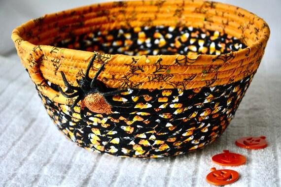 Halloween Candy Bucket, Decorative Spider Basket, Handmade Candy Corn Bowl, Fall Napkin Basket, Mail Bin, Key Holder, Fruit Bowl