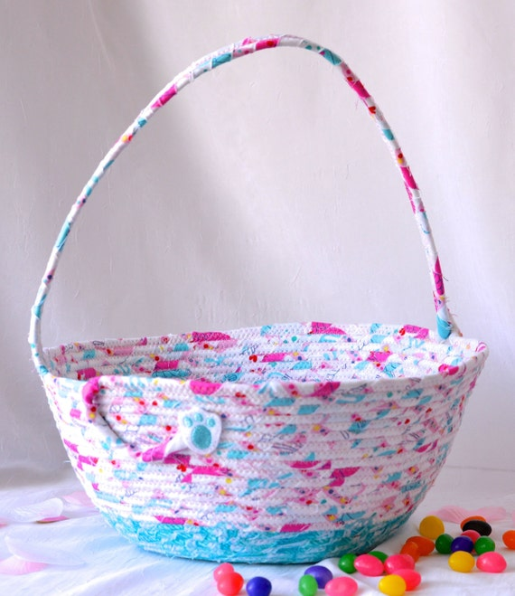 Girl Easter Basket, Handmade Flower Girl Basket, Cute Baby Girl Room Decor, Diaper Bin, Lotion Holder, Handled Basket, Organizer