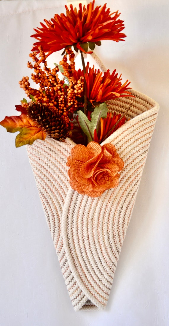 Fall Wall Vase, Rope Wreath, Autumn Door Hanger, Lovely Wall Art, Artisan Quilted Vase, Handmade Orange Home Decor, Modern Rope Art