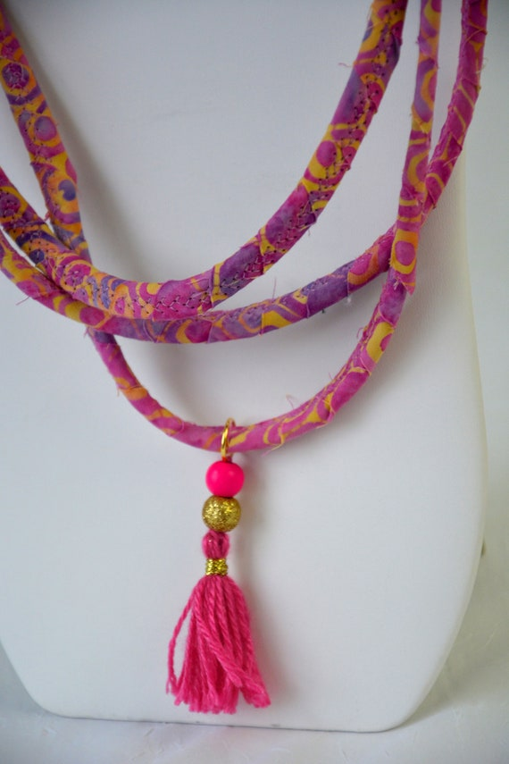 Pink Tassel Necklace, Handmade Batik Fiber Necklace, Fun Beach Jewelry,  Unique Rope Necklace with tassel, Mauve Women Necklace,