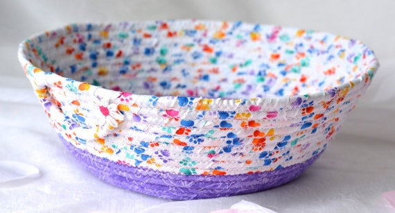 Dog Toy Basket, Treat Bowl, Cute Napkin Basket, Hand Coiled Rope Basket, Mail Bin, Storage Organizer, Key Holder Tray, Cat Home Decorl