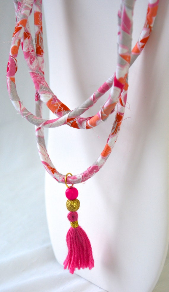 Pretty Tassel Necklace, Handmade Abstract Fiber Necklace, Cute Pink Fabric Jewelry,  Unique Rope Necklace with tassel