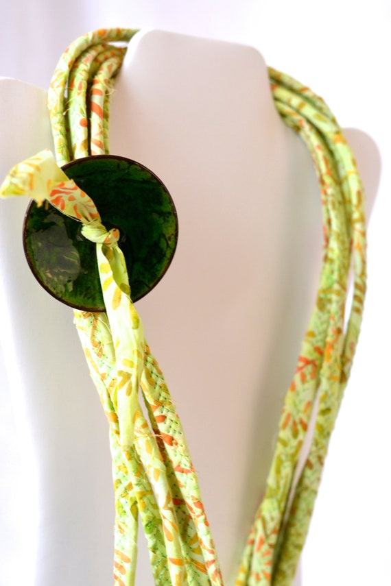 Fall Green Necklace, Handmade Batik Fabric Necklace, Multi Strand Infinity Rope Necklace, Skinny Fiber Wrap Jewelry, Gorgeous Beach Wrap