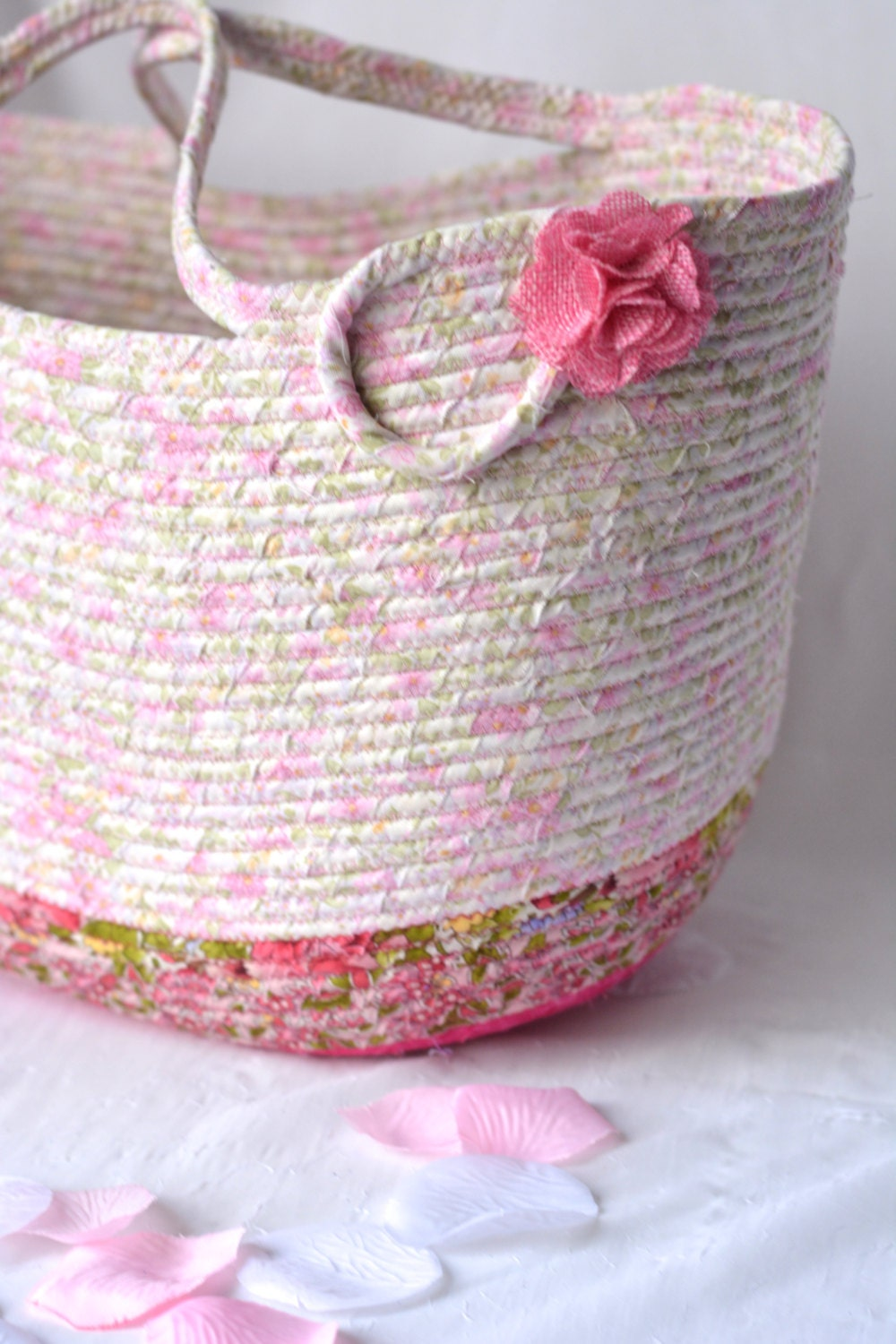 Shabby Chic Tote Bag Handmade Quilted Basket Decorative Pink