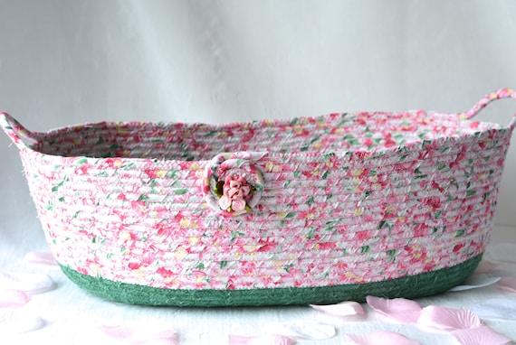 Shabby Chic Basket, Toilet Paper Holder, Magazine Rack, Handmade Pink Floral Basket, Pink Shower Gift Basket, Family Room Organizer