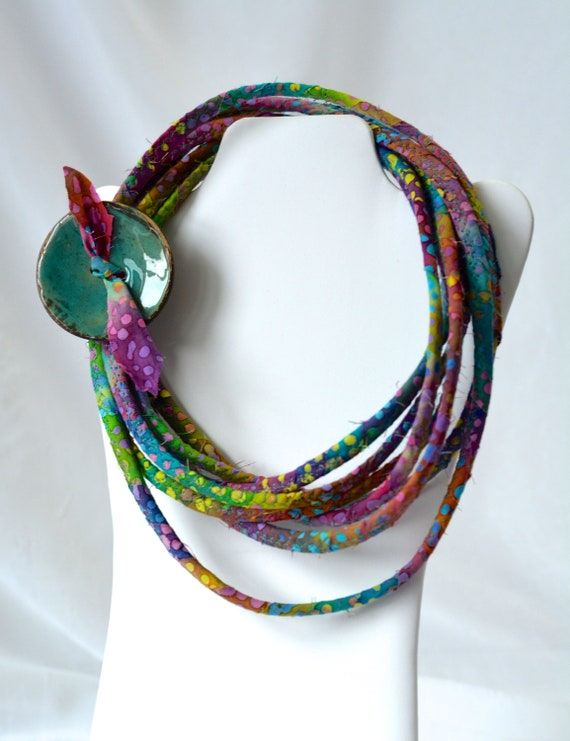 Fall Teal Necklace, Infinity Necklace, Handmade Wrap Fiber Jewelry, Unique Skinny Multi Strand Necklace, Teal Green Accent Jewelry