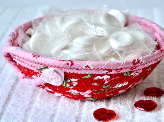 Red Candy Bowl, Cute Fabric Basket, Cute Potpourri Bowl, Desk Accessory Basket, Change Dish, Coin Holder, Ring Dish, Mother's Day Gift