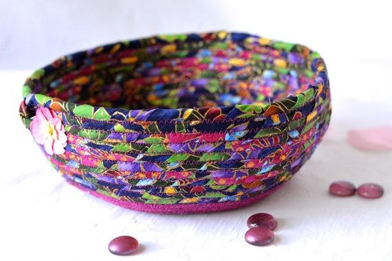Modern Fabric Bowl, Key Tray, Handmade Phone Organizer, Decorative Blue Basket, Coiled Rope Basket, Quilted ClotheslineBasket
