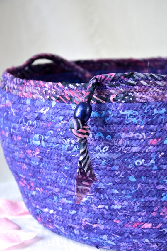 Stylish Bolga Basket, Purple Home Decor, Handmade Coiled Rope Basket, Lovely Storage Organizer, Textile Art Basket, Knitting Project Bag