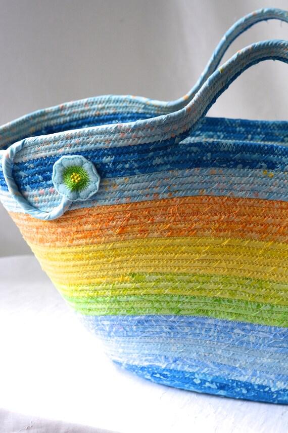 Blue Tote Bag, Picnic Basket, Handmade Beach Bag, Gorgeous Batik Fabric Bag, Moses Basket, Laptop Case, Pastel Baby Hamper