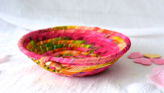 Coiled Rope Basket, Handmade Fuchsia Bowl, Cute Key Tray, Desk Accessory Basket, Pink Artisan Quilted Bowl, Bling Ring Dish