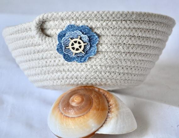 Recycled Denim Bowl, Handmade Key Basket, Cute Ship Wheel Basket, Upcycled Jean Potpourri Bowl,  Minimalist Rope Bowl, Ring Dish, Candy Dish