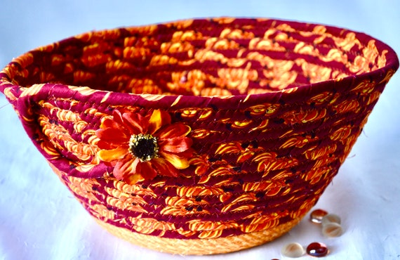 Fall Red Basket, Country Home Decor Bowl, Autumn Mail Basket, Handmade Bread Basket, Napkin Holder, Fruit Bowl, Thanksgiving Harvest Decor