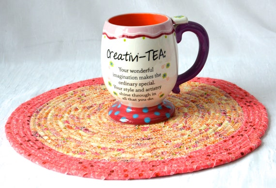 """Coral Place Mat, 12"""" Handmade Hot Pad, Picnic Table Mat, Coral and Peach Potholder, Quilted Table Topper Runner, Fabric Trivet"""