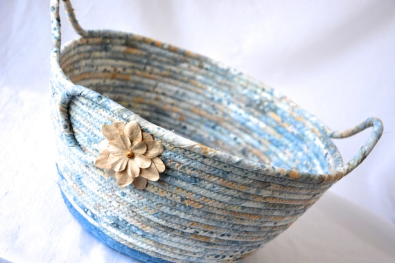 Indigo Blue Basket, Handmade Country Fabric Bowl, Gorgeous Quilted Cotton Basket, Beach Cottage Chic Bowl,  Remote Control Holder
