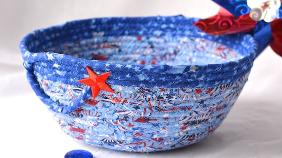 Memorial Day Decoration, Gift for Dad, Him, Men,  Handmade Red White and Blue Chip Bowl, Veteran Gift Basket, Blue Patriotic Decoration