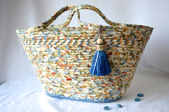 Blue Tote Bag Basket, Handmade Country Blue Handbag, Unique Coiled Rope Basket, Clothesline Tote Bag, Storage Organizer