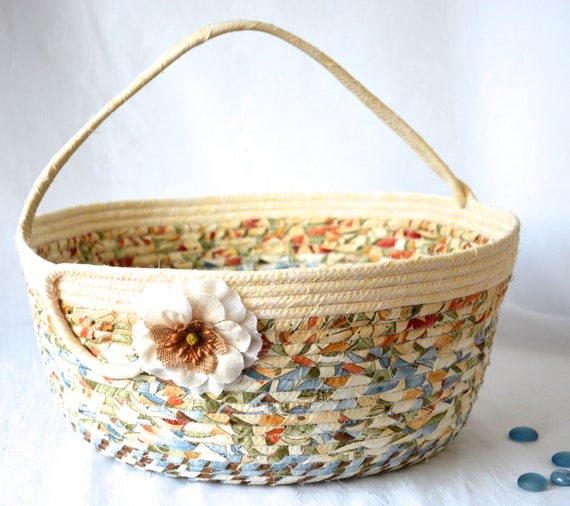 Country Abstract Basket, Neutrals Fabric Basket, Handmade Coiled Rope Basket, Lovely Storage Organizer, Knitting Project Bag,  Gift Basket