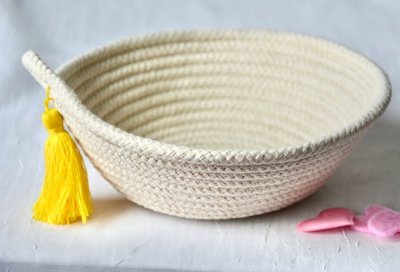 Minimalist Decor Bowl, Handmade Rope Basket, Country Clothesline Basket, Neutrals Ring Dish, Yellow Tassel Bowl, Cute Desk Accessory