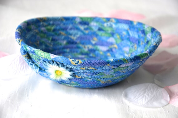 Blue Fabric Basket, Lovely Azure Blue Quilted Bowl, Handmade Lotion Holder, Hand Coiled Rope Basket, Pretty Ring Dish, Key Tray