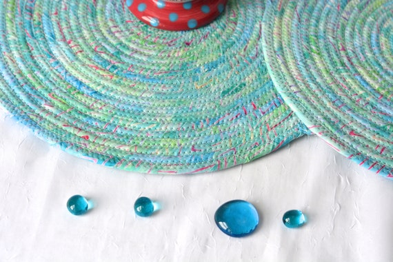 Aqua Place Mats, 2 Handmade Coiled Trivets, Quilted Table Mats, 2 Hot Pads, Turquoise Batik Mug Rugs, Hot Pads, Clothesline Rope Mat
