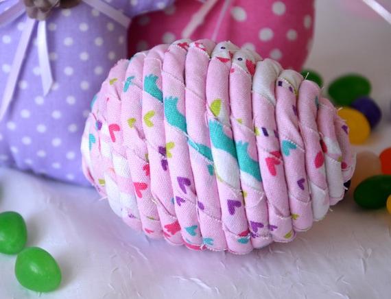 Easter Egg Ornament, Handmade Easter Egg Decoration, Pink Egg Bowl Filler, Hand Coiled Fiber Easter Egg, Easter Basket Stuffer, Cute Decor