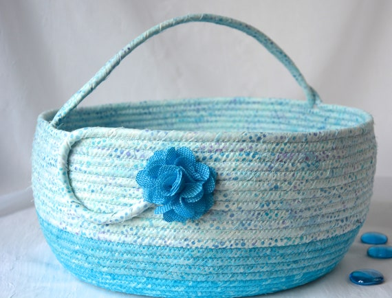 Aquamarine Batik Bolga Storage Container, Handmade Textile Art Basket, Coiled Rope Basket with handle, Blue Fabric Bin, Country Chic Basket