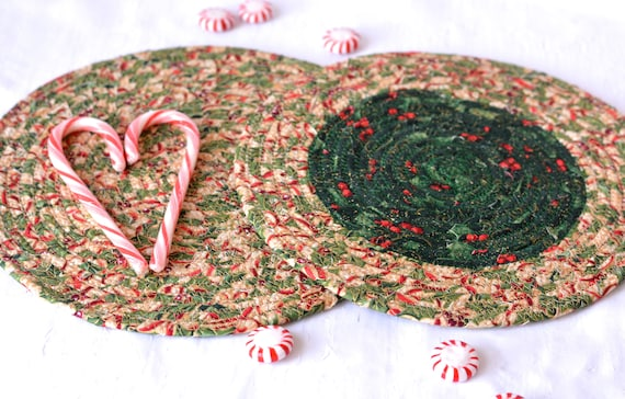 Holly Christmas Trivets, 2 Handmade Table Mats, 2 Quilted Candle Holders, Potholders, Table Topper, Christmas Holiday Table Runner