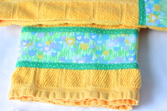 Summer Decoration, Bridal Shower Gift Towels, 2 Hand Decorated Kitchen Towels, Set of Two, Happy Yellow Home Decor