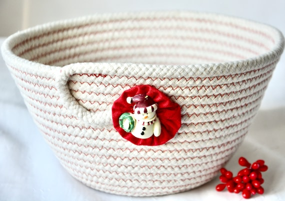 Snowman Decor Bowl, Winter Desk Accessory, Handmade Rope Basket, Country Napkin Holder, Red Fruit Bowl, Farmhouse neutrals basket