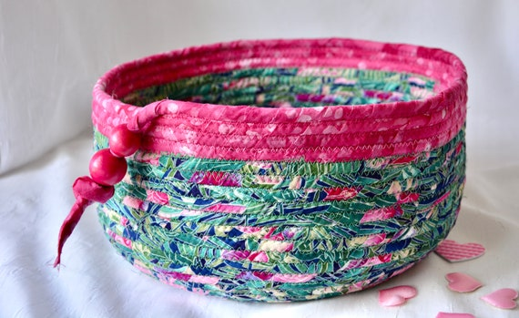 Fun Picnic Basket, Handmade Napkin Basket, Paper Plate Basket, Flamigo Pink Decor Bowl, Yarn Holder, Mail Bin, Toy Organizer