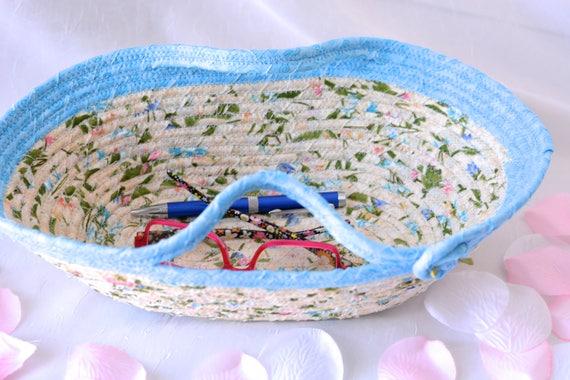 Remote Control Holder Basket, Handmade Coiled Rope Bowl, Eyeglass Holder, Key Ring Dish, Pretty Desk Accessory, Floral Basket, Handles