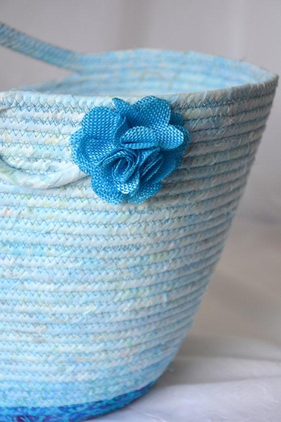 Blue Tote Bag, Handmade Moses Basket, Lovely Aqua Batik Handbag, Laptop Purse Case, Unique Coiled Rope Basket, Clothesline Project Bag