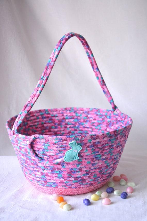 Pink Easter Basket, Handmade Girl Easter Bucket, Spring Decor, Cute Glitter Basket, Easter Egg Hunt Tote Bag, Free Name Tag