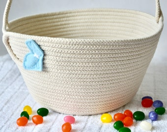 Child Easter Bucket, Handmade Easter Basket, Cute Easter Egg Hunt Bag, Jelly Bean Holder, Rope Tote,Pick Your Bunny Color,  Free Name Tag