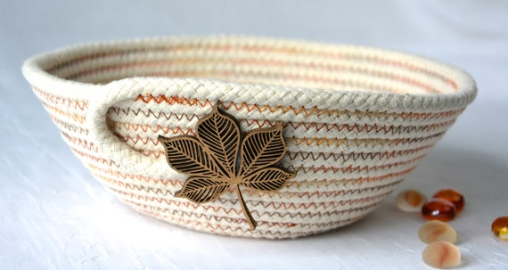 Fall Leaf Dish, Desk Accessory Bowl, Handmade Rope Basket, Country Ring Dresser Tray, Autumn Decoration, Farmhouse rope basket