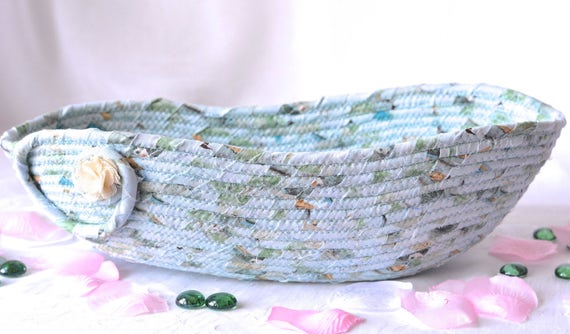 Remote Control Basket, Handmade Artisan Bowl, Hand Coiled Rope Basket, Soft Blue Brush Holder, Yarn Bowl, Eyeglass Tray