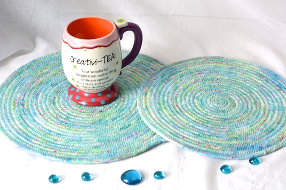 Summer Place Mats, 2 Handmade Coiled Trivets, Aqua Quilted Table Mats, 2 Hot Pads, Turquoise Batik Mug Rugs, Hot Pads, Clothesline Rope Mat