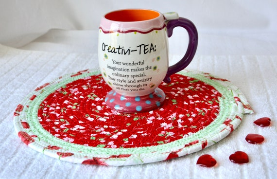 Cherry Red Trivet, 1 Picnic Place Mat, Handmade Coiled Hot Pad, Quilted Potholder, Kitchen Table Decor, Dining Room Mat