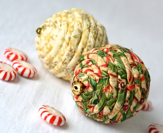 Christmas Ornament Set of 2, Handmade Holiday Decoration, Red and Gold Bowl Filler, 2 Hand Coiled Fiber Christmas Balls, Home Decor
