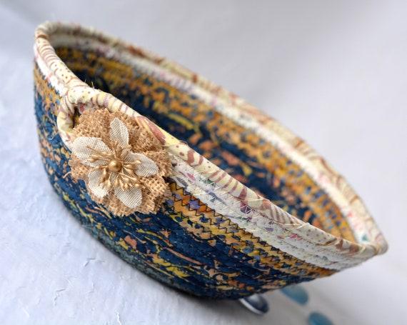 Country Blue Gift Basket, Gorgeous Batik Basket, Handmade Fiber Art Bowl, Unique Blue and Brown Bowl, Rustic Coiled Rope Basket