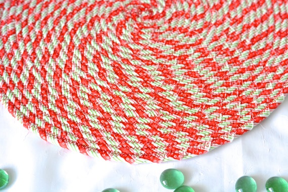 """Holiday Table Topper, 1 Trivet, Christmas Candy Cane Place Mat, Handmade Hot Pad,  12"""" Trivet, Table Mat, Lovely Christmas Decoration"""