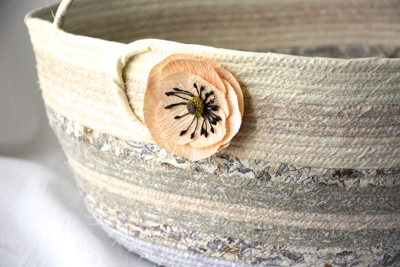 Neutrals Bolga Basket, Biege Home Decor, Handmade Coiled Rope Basket, Lovely Storage Organizer, Knitting Project Bag,  Gift Basket