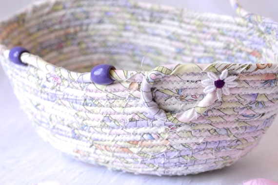 Lovely Lavender Basket, Handmade Door Hanger Bowl, Cute Hanging Home Decor, Coiled Rope Basket
