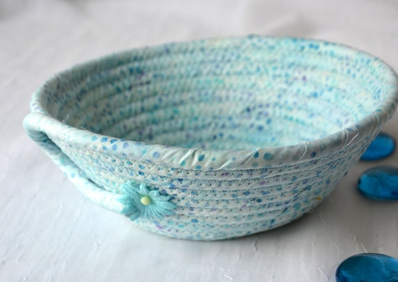 Aqua Batik Basket, Handmade Blue Artisan Bowl, Candy Dish, Quilted Cotton Basket, Beach Cottage Chic Fabric Bowl, Key Change Bowl